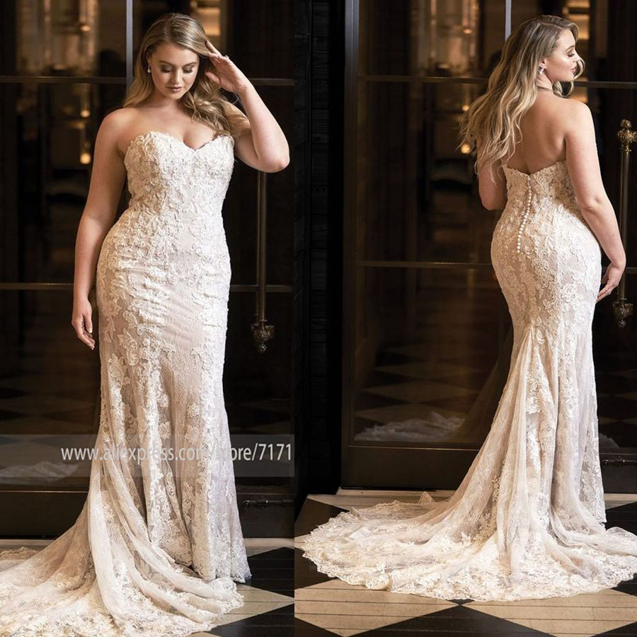 Sweetheart Neckline Full Lace Applique Sleeveless Plus Size Mermaid Wedding Dress With Button Backless Sweep Train Bridal Dress