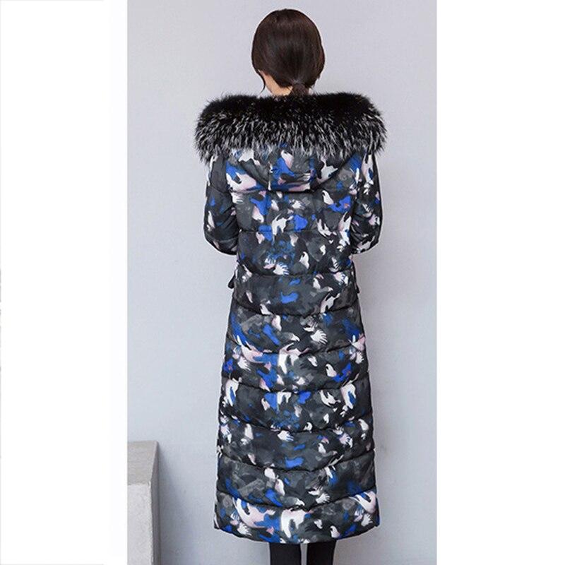 2018 Camo De Nouveau rouge bleu D'hiver Mode Coton Long Vestes Noir Femelle Femmes Nw614 vert Rembourré Parkas Veste Fourrure À Capuche Col Manteau Mince rXdrqtw