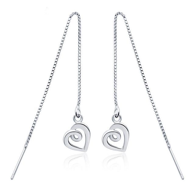 Charming 925 Sterling Silver Pull Through Heart Threader Earrings Long Dangle Drop Gtle144