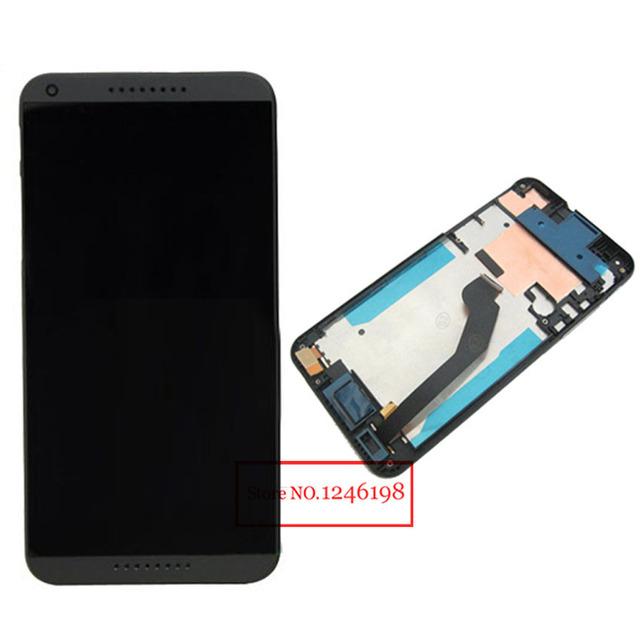 Preto branco azul lcd screen display toque digitador assembléia com quadro para htc desire 816g 816 h 816f substituição telefone parts