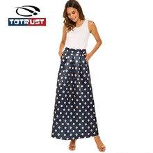 TOTRUST Long Pocket Skirt For Women 3XL Summer Vintage Floral Print Skirt High Waist Black White Polka Dot Skirt  Jupe Longue sweet long sleeves cartoon print blouse polka dot skirt twinset for women