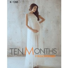 78080aaf459cc 2019 White Maternity Long Lace Sleeveless Perspective Dresses Pregnant  Photography Props Fancy Maternity Dresses Pregnancy(