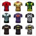 2016 Super-heróis Ironman Superman Batman Camiseta De Compressão De Fitness dos homens T Marca de Manga Curta Estilo Casual O Pescoço Tshirts
