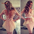 2017 Long Sleeves Sheath Straight Sexy V Neck Appliques Knee Length Celebrity Dress Party Gowns Sex V Back Cocktail dress
