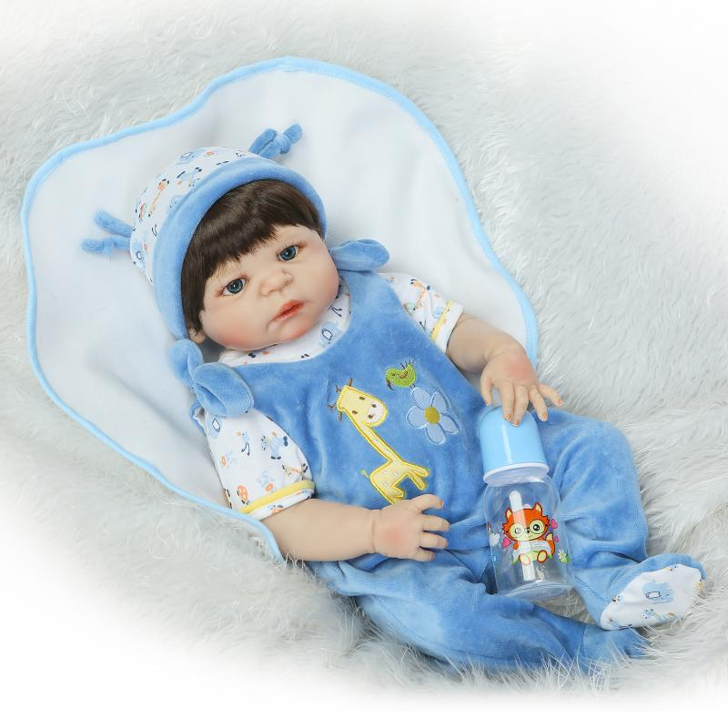 Nicery 22inch 55cm Bebe Reborn Doll Hard Silicone Boy Girl Toy Reborn Baby Doll Gift for Children Blue giraffe Cloth Baby Doll nicery 22inch 55cm bebe reborn doll hard silicone boy girl toy reborn baby doll gift for children blue dino cloth hat baby doll