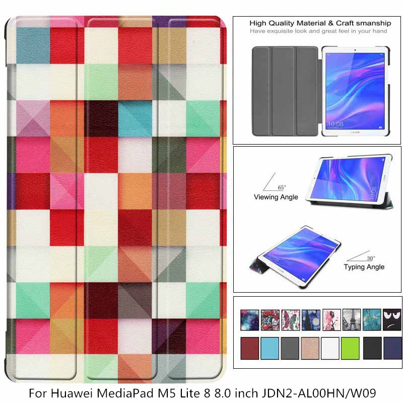 PU Leather Case For Huawei Mediapad M5 Lite 8 8.0 Inchtablet Smart Cover Case For Honor Tab 5 JDN2-AL00HN/W09 Case + Pen