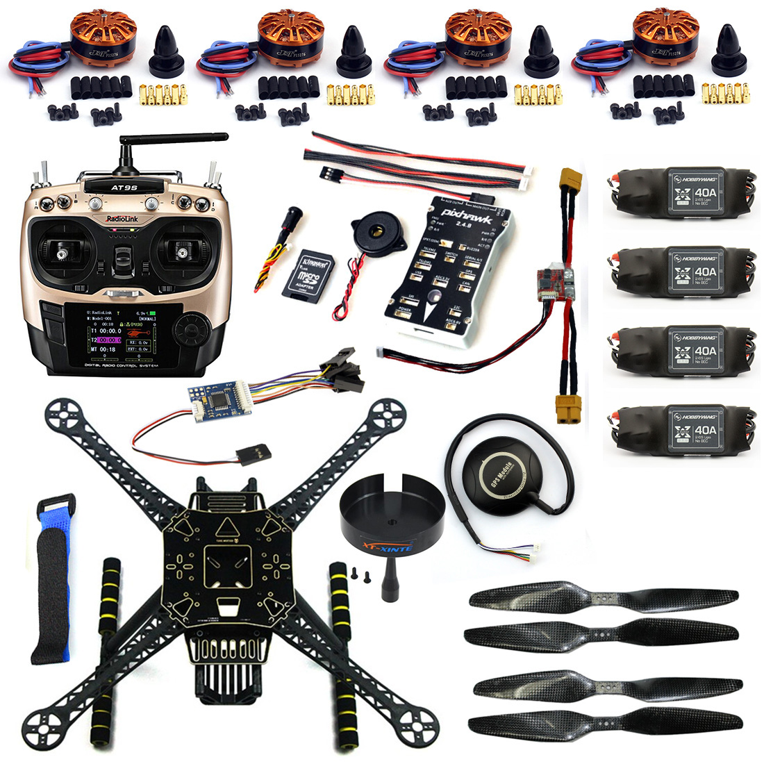 DIY FPV Drone S600 4-Axle Frame Kit Pix 2.4.8 Flight Control AT9S Transimitter GPS7M 40A ESC with 700KV Motor XT60 Plug F19457-B diy set pix4 flight control zd850 frame kit m8n gps remote control radio telemetry esc motor props rc 6 axle drone f19833 d