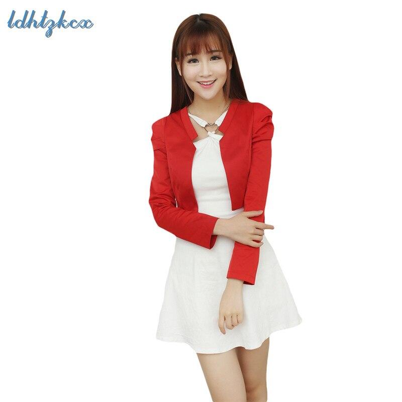 Пиджак Для женщин Корейский короткий маленький пиджак куртка 2019 Демисезонный офис черный розовая куртка кардиган тонкий пиджак пальто LD03