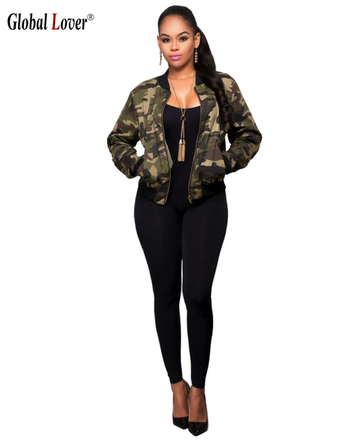 cbb823fc77581 Harajuku Autumn Bomber Jacket Women 2016 Military Camouflage Print Jackets  Womens Coats Long Sleeve Baseball Coat Zip Outerwear