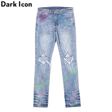 Dark Icon Colorful Foil Paint Splatter Jeans Men Ripped Pencil Jeans High Street Fashion Denim Men's Pants