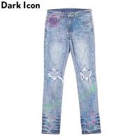 Dark Icon Colorful Foil Paint Splatter Jeans Men Ripped Pencil Jeans High Street Fashion Denim Men's Pants