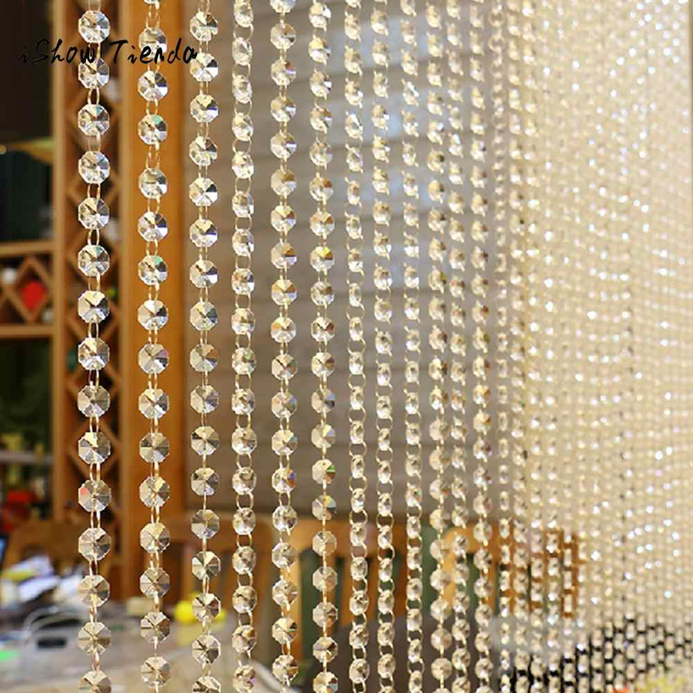 Line String Crystal Glass Bead Curtain Window Door Divider Sheer Curtain Valance Luxury Living Room Bedroom Wedding Home Decor