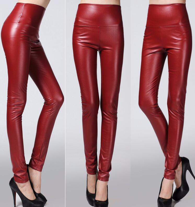 Leggings winter Women High Waist PU Leather Legging Slim Faux Pants Female Fashion Warm Leggings Women 15
