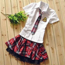 Women Japanese School Uniform Student Sailor Shirt Pleated Skirt Cosplay Costume