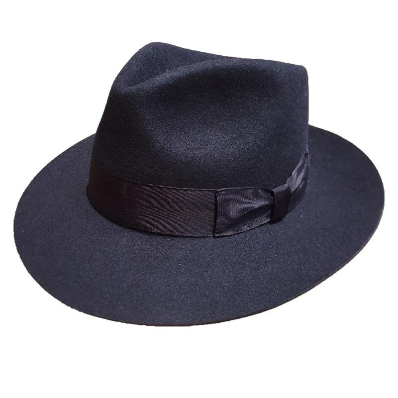 Classic Deep Blue Wool Men s Fur Felt Fedora Hat Gangsters Hipsters