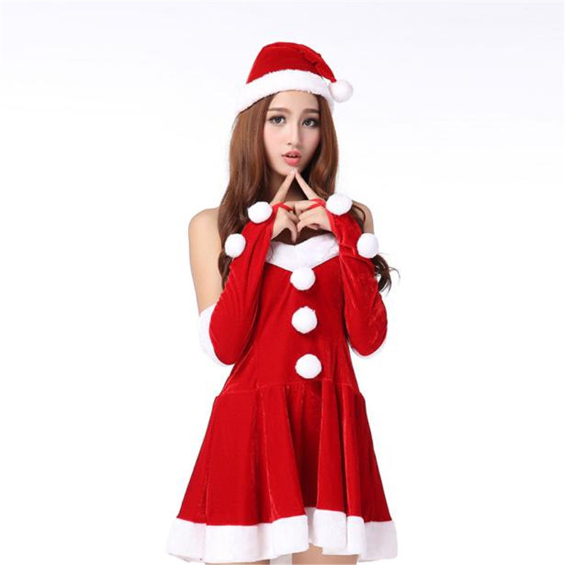 Christmas Dress 2017 Womens Sexy Santa Costume Christmas Party Fancy Dress  Cosplay Suit Strapless Off Shoulder Vestidos Au023-in Dresses from Women s  ... 37c091ce2fce