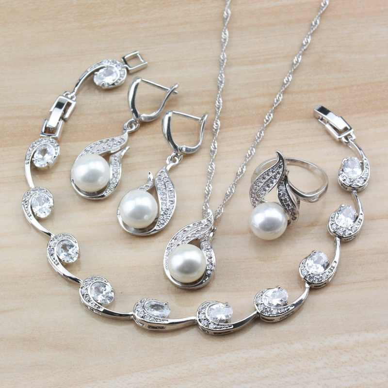 925 Sterling Silver White Natural Feshwater Pearl Charm Bridal Wedding Fashion Costume Jewelry Sets For Women Gift