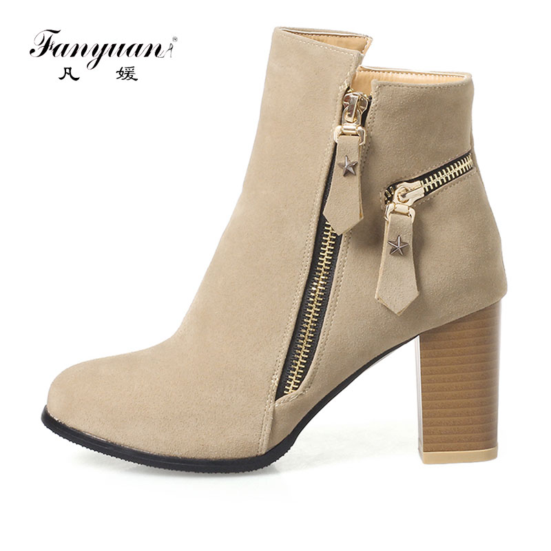 Fanyuan 2018 Women Ankle Boots Zipper Design Fashion Square High Heel Round Toe All Match Ladies Motorcycle Boots Size 32-46 nemaone 2018 women ankle boots pu leather square high heel round toe zipper sweet boots all match ladies boots size 34 43