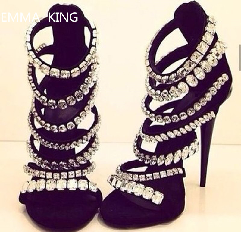 Luxury Bling Crystal Women Sandals Hollow Out Black Stiletto High Heels Women Gladiator Sandals Summer Sexy Banquet Shoes WomanLuxury Bling Crystal Women Sandals Hollow Out Black Stiletto High Heels Women Gladiator Sandals Summer Sexy Banquet Shoes Woman