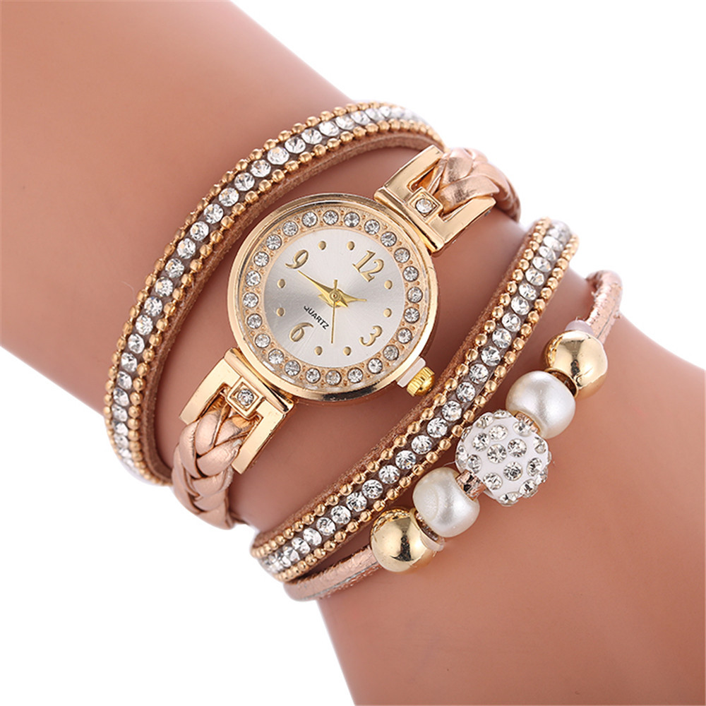 New Style Beautiful Rhinestone Bracelet Women Watches Ladies Watch Circled Braiding Tape 2018 Female Clolck Drop Shipping