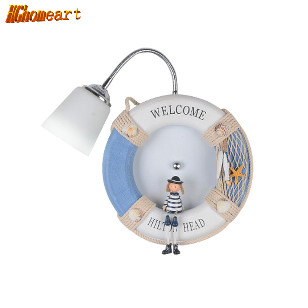Hghomeart High Quality Navy Wind Dolls Wall Lamp Led E27 Mediterranean Cartoon Wall Led Lamp Indoor Lighting Kids Wall Light high quality cartoon cat street lamp pattern removeable wall sticker