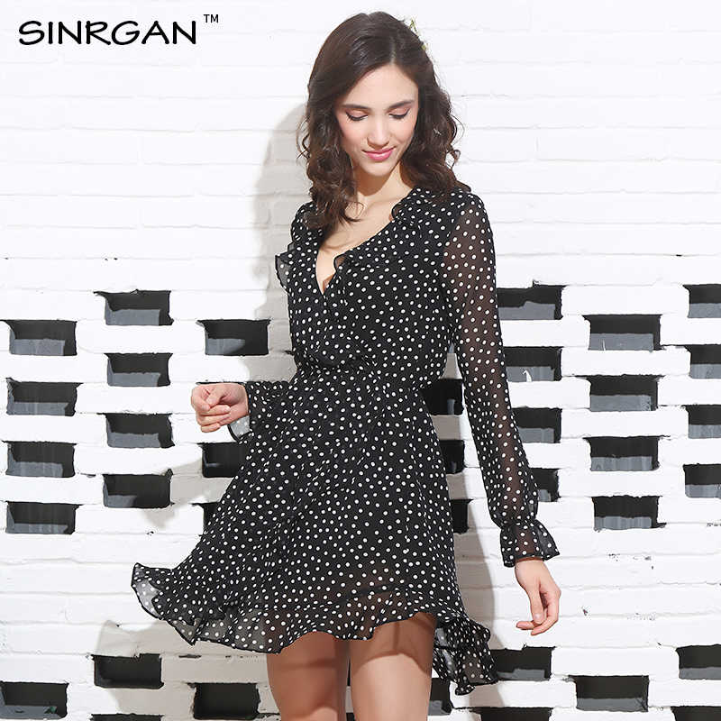 SINRGAN Ruffle Polkadot Print Summer Dress Vintage Irregular Bow Wrap Short Dress Women Chiffon Black Dress Beach Dresses 2019