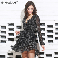 SINRGAN Ruffle Polkadot Print Summer Dress Vintage Irregular Bow Wrap Short Dress Women Chic Chiffon Black