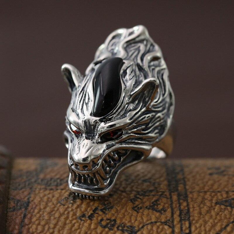 Pur 925 Sterling argent loup large bande gothique anneau de doigt hommes Top artisanat Cool bijoux Vintage Thai argent hommes bague cadeau d'anniversaire