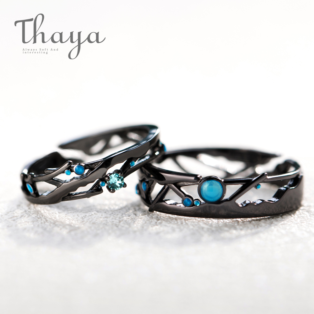 Thaya Cz Milky Manner Black Rings Blue Vivid Cubic Zirconia Rings 925 Silver Jewellery For Girls Lover Classic Bohemian Retro Present
