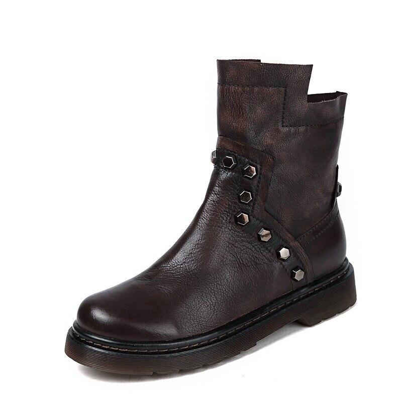 2018 новая модель из натуральной кожи женская обувь с заклепками женские туфли с закругленным носком красивые женские туфли на плоской подош