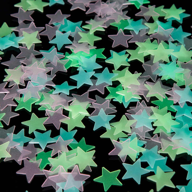 100PC Kids Bedroom Fluorescent Glow In The Dark Stars Glow Wall Stickers Stars Luminous luminous glow sticker color