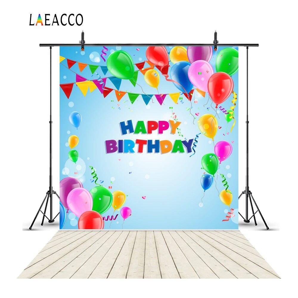 Laeacco Gelukkige Verjaardag Ballonnen Vlaggen Houten Vloer - Camera en foto