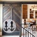 LWZH стальная дверь для раздвижной створки в античном стиле, вешалка для крепления на верхушке, комплект оборудования, черный якорь в форме дл...