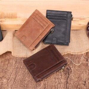 Image 5 - Couro genuíno rfid carteiras de cartão de crédito retro multifuncional dos homens mini bolsas de moedas do vintage pequena bolsa de moedas caso de cartão de identificação