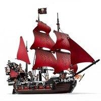 Lepin 16009 Caribbean Pirates Anne Queen Revenge Red Ship Figure Building Blocks 1151pcs Bricks Toys For