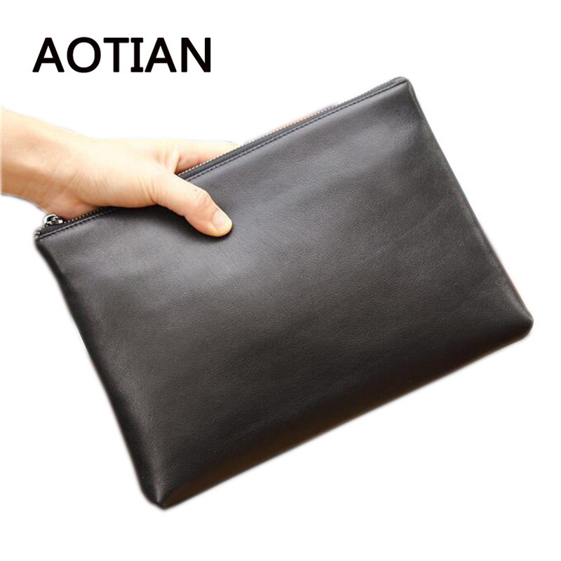High Quality Men Genuine Leather Clutch Men Wallets Vintage Wallet Male Purses Large Capacity Men's Wallets