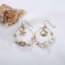 Bohemia Asymmetric Shell Pendientes Earrings Resin Geometric Round Dangle For Women Boho Beach Jewelry Accessories