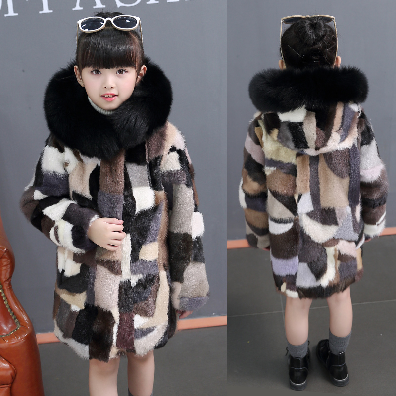 Winter Girls Mink Fur Coat Elegant Children Outwear Baby Hair Thickness Girls Real Fur Jacket Thick Warm Kids Windbreakers TZ359 hm023 women s winter hats real genuine mink fur hat winter women s warm caps whole piece mink fur hats