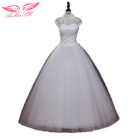AnXin SH mùa thu và mùa đông mỏng ống đầu khe neckline cộng với kích thước thai sản lace bridal wedding dress hoa wedding dress