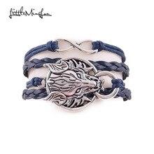 Little MingLou New Infinity Dragon Bracelet Dragon Sun Wolf head Charm men leather wrap bracelets & bangles for Women jewelry