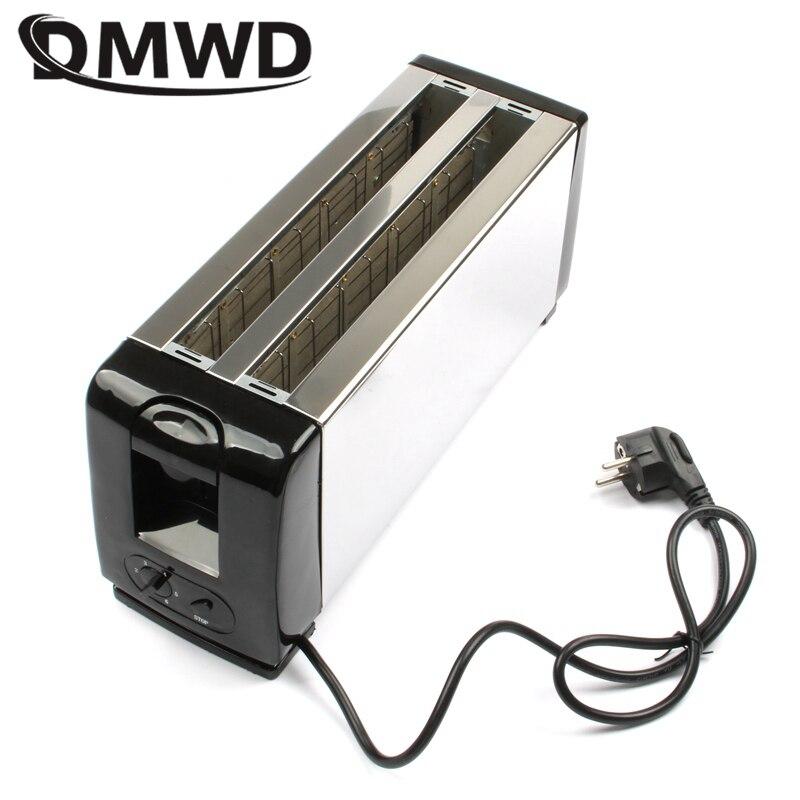 DMWD Многофункциональный 110 В/220 В 4 слота тостер бытовой автоматический хлеб выпечки из нержавеющей стали тостер печь для завтрака