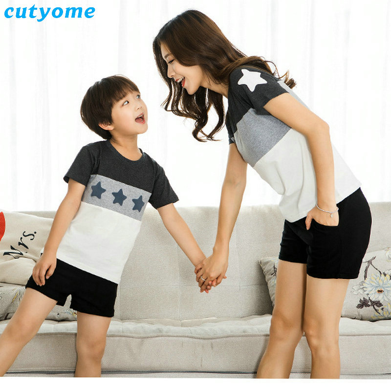 Mother Daughter Father Son Shorts Family Look Matching Clothes Beach Short Pants Outfits Mom Daddy Boys Girls Summer T shirt (7)