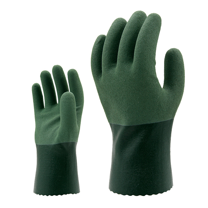 The new 2018 nitrile gloves lined with green cotton guantes trabajo the barb rubber gloves 2 double/package 1 double cotton gloves white green