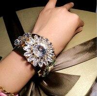 Thời trang rộng rhinestone tinh bracelet thương hiệu punk kim loại vàng cổ điển tay cuff charm bracelet bangle đối với đảng nữ jewelry