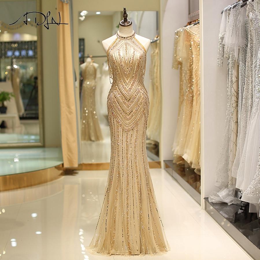 ADLN Luxury Gold Prom Dresses 2019 Crystals Beading Mermaid Long Prom Dress Vestidos De Noite Formal Evening Gowns