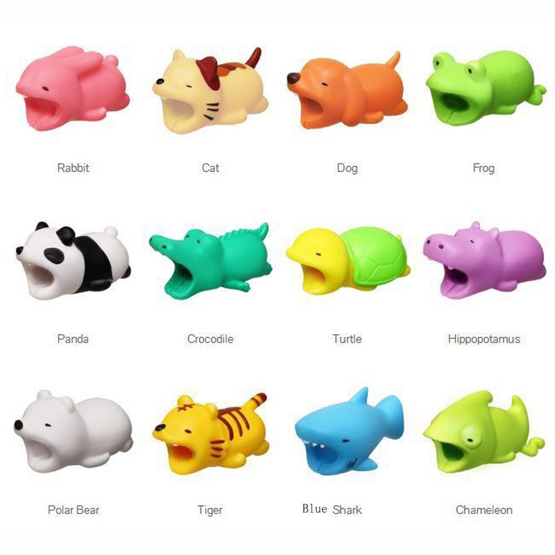 1PCS Cute Animal Bites Cartoon USB Charger Cable Winder Data Cable Cord Protector Protective Organizer For Iphone USB Cable