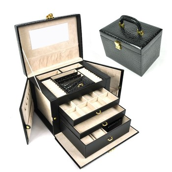 Luxurious leather large jewelry box