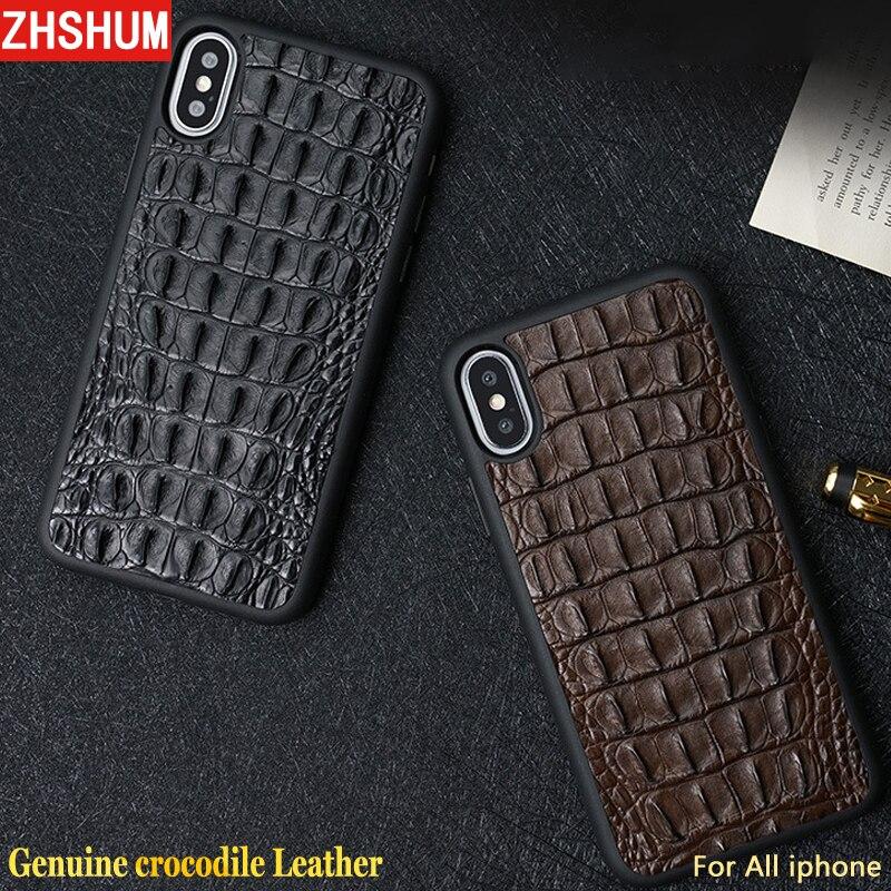 Véritable Crocodile En Cuir étui pour Iphone X 8 Plus 7 XS MAX XR 6 S De Luxe fabriqués À La Main Personnaliser coque peau revêtement arrière pour Iphone 6 10