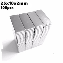 Powerful Magentic Bar Magnet 25x10x2mm N35 Rare Earth NdFeB 100pcs 25x10x2 Strong Block Permanent Neodymium Magnets