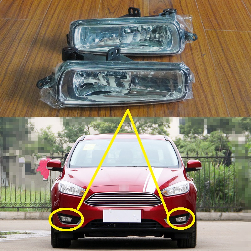 цена на 2 Pcs/Pair RH and LH Clear Lens Front Bumper Fog Lights Lamps With bulbs For New Ford Focus 2015